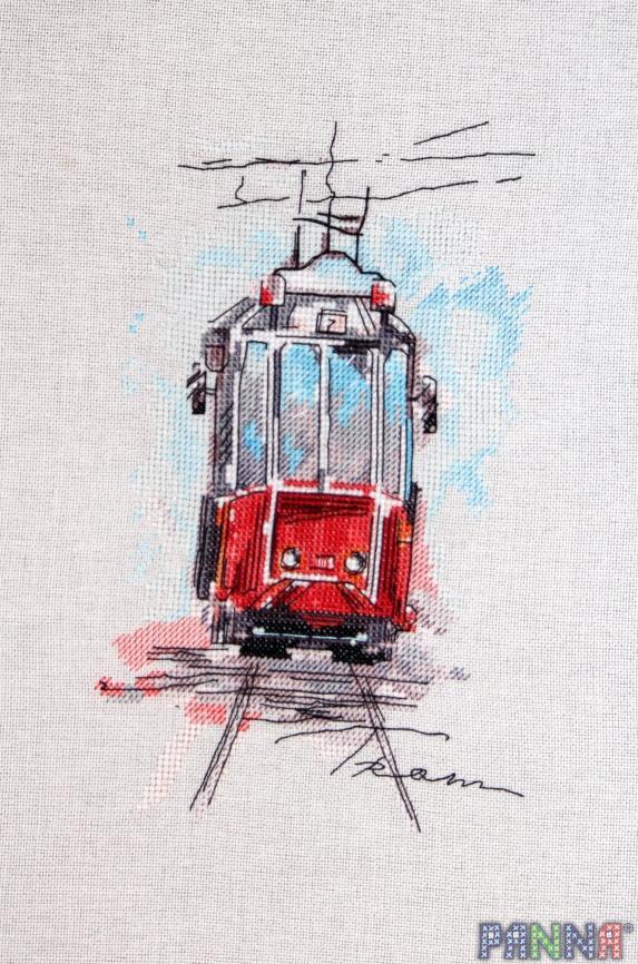 Вышивка городской трамвай схема 19