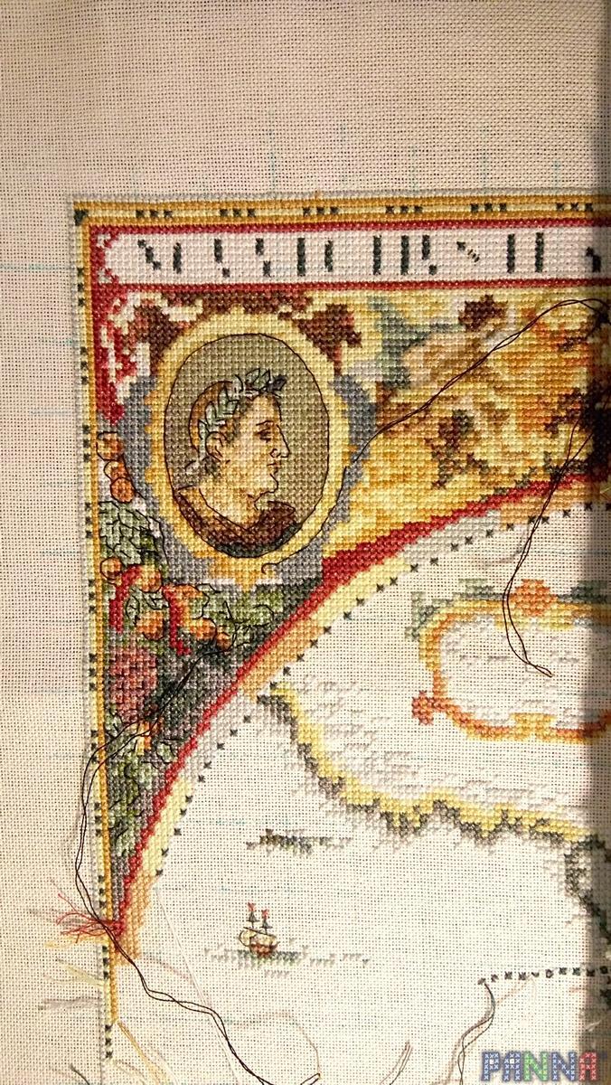 Старая карта мира схема вышивка.