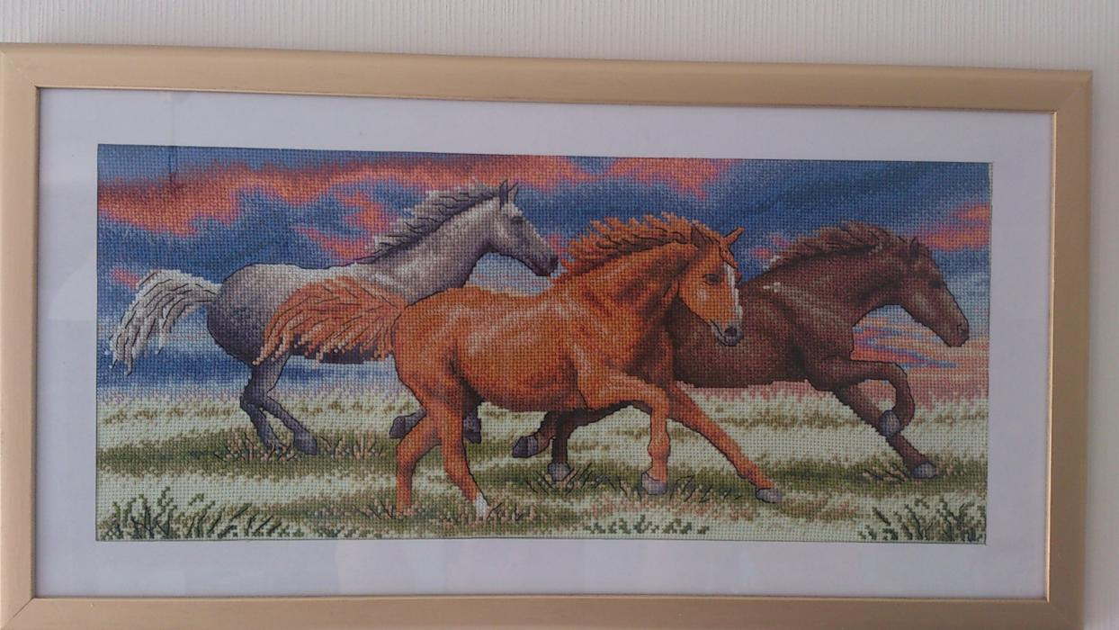 Вышивка бегущие от грозы лошади 63