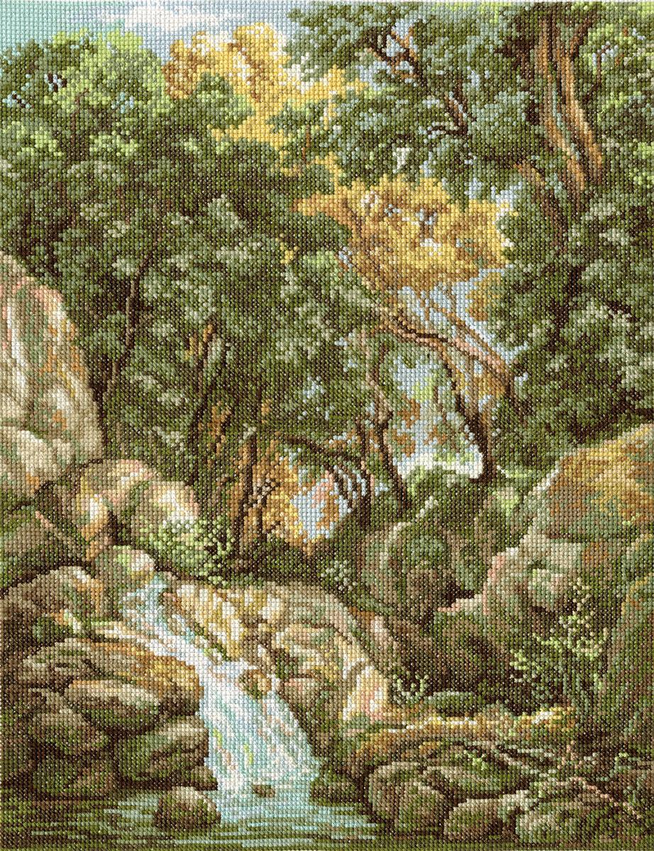 Набор для вышивания крестом Panna ВХ-1097 Водопад в лесу
