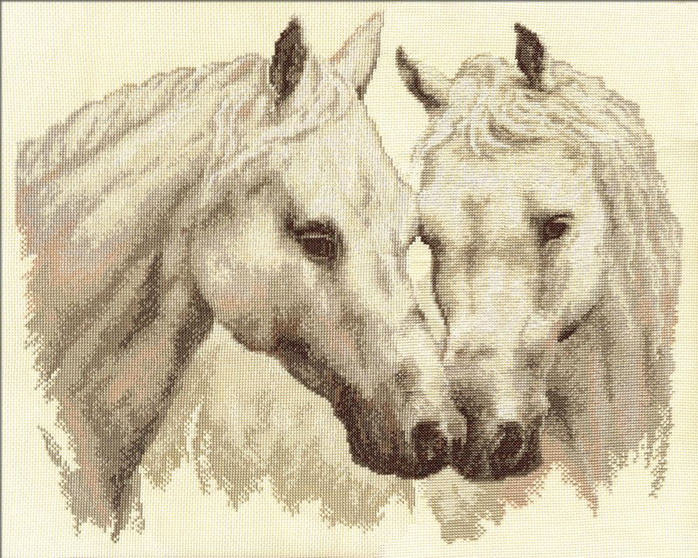 схема вышивания крестиком лошадей