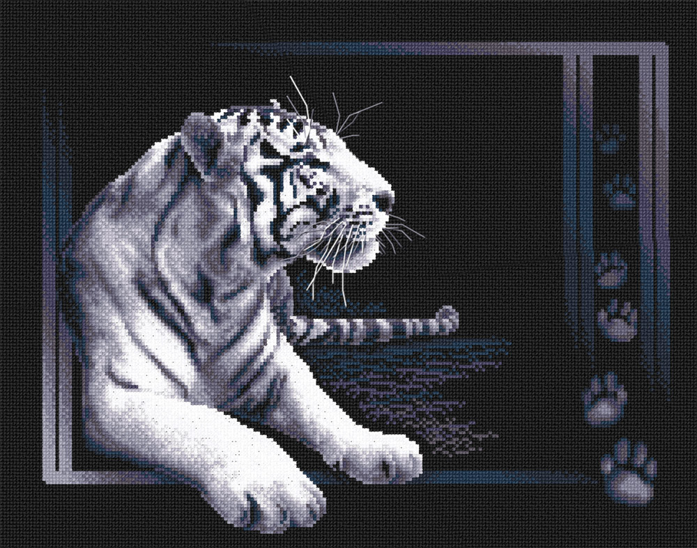 Девчонки, помогите, пожалуйста найти номера ниток (ключ) к этому набору (PANNA Ж-277 Белый тигр, 7 цветов).