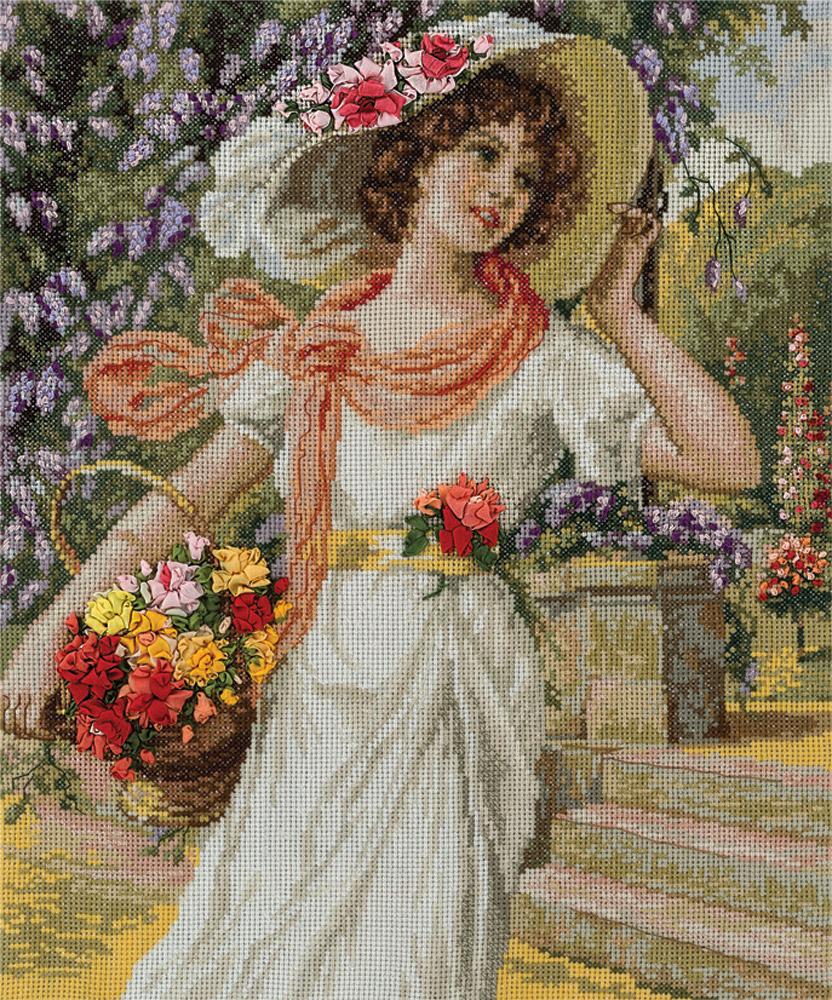 схема картины девушка с цветами