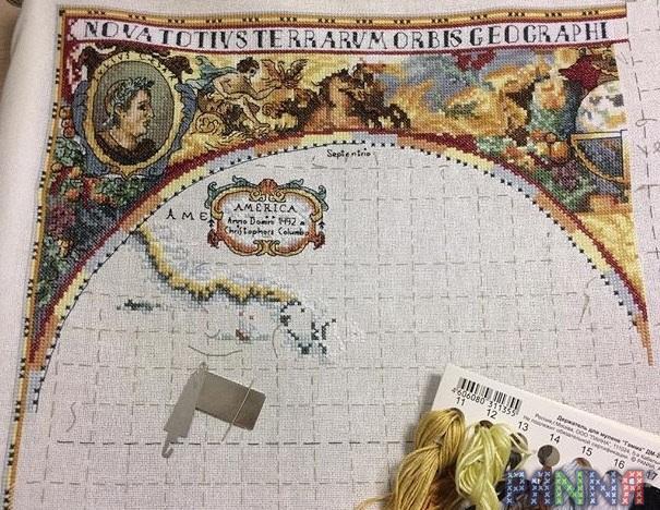 Вышивка крестом карта мира panna