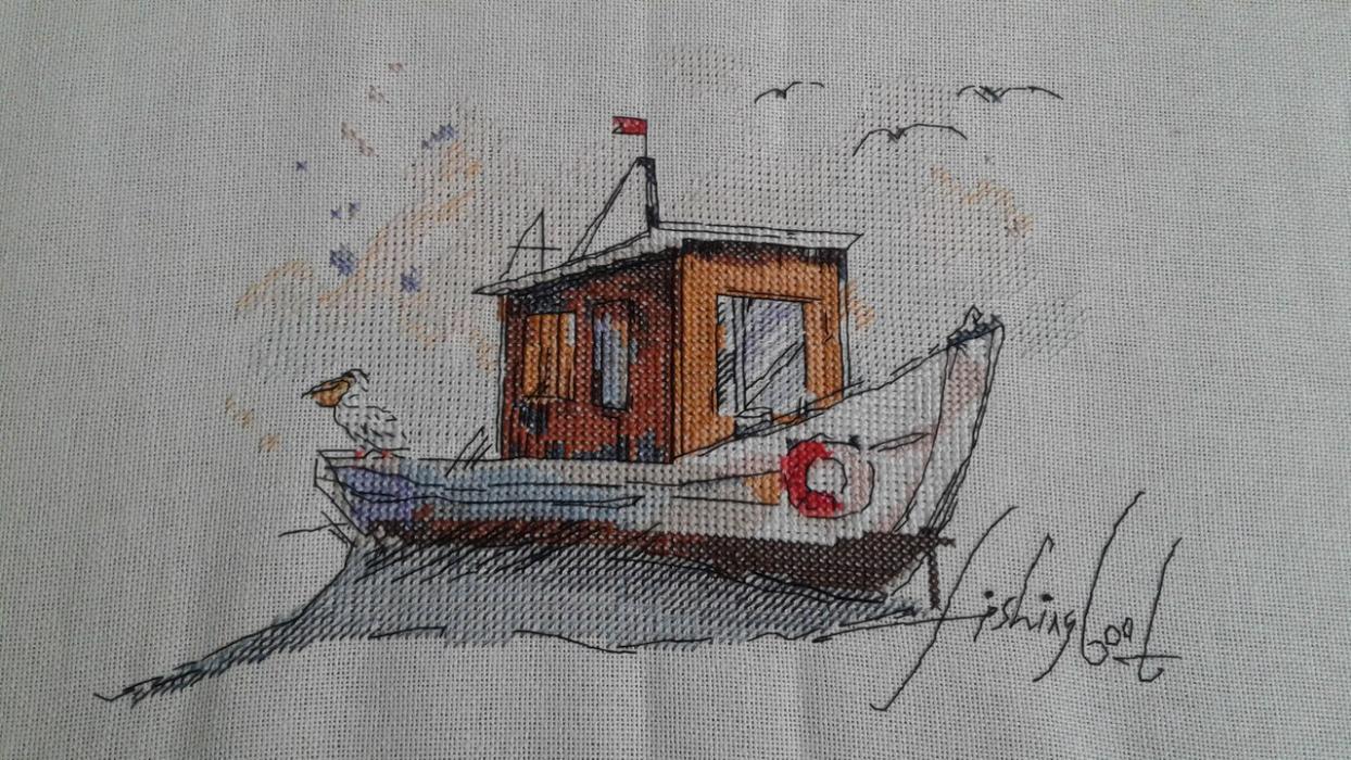 Скачать вышивку лодка