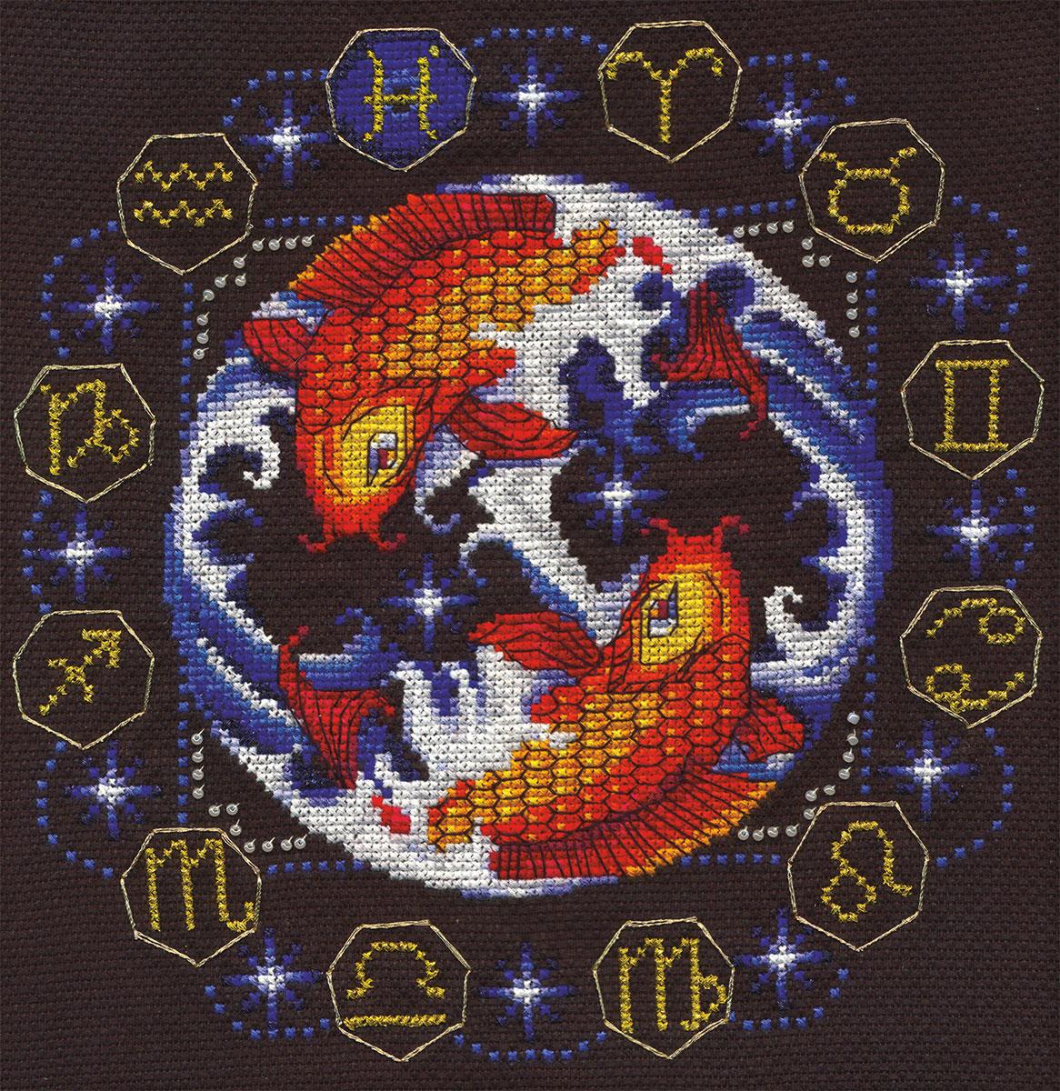 Схема вышивка знак зодиака рыбы
