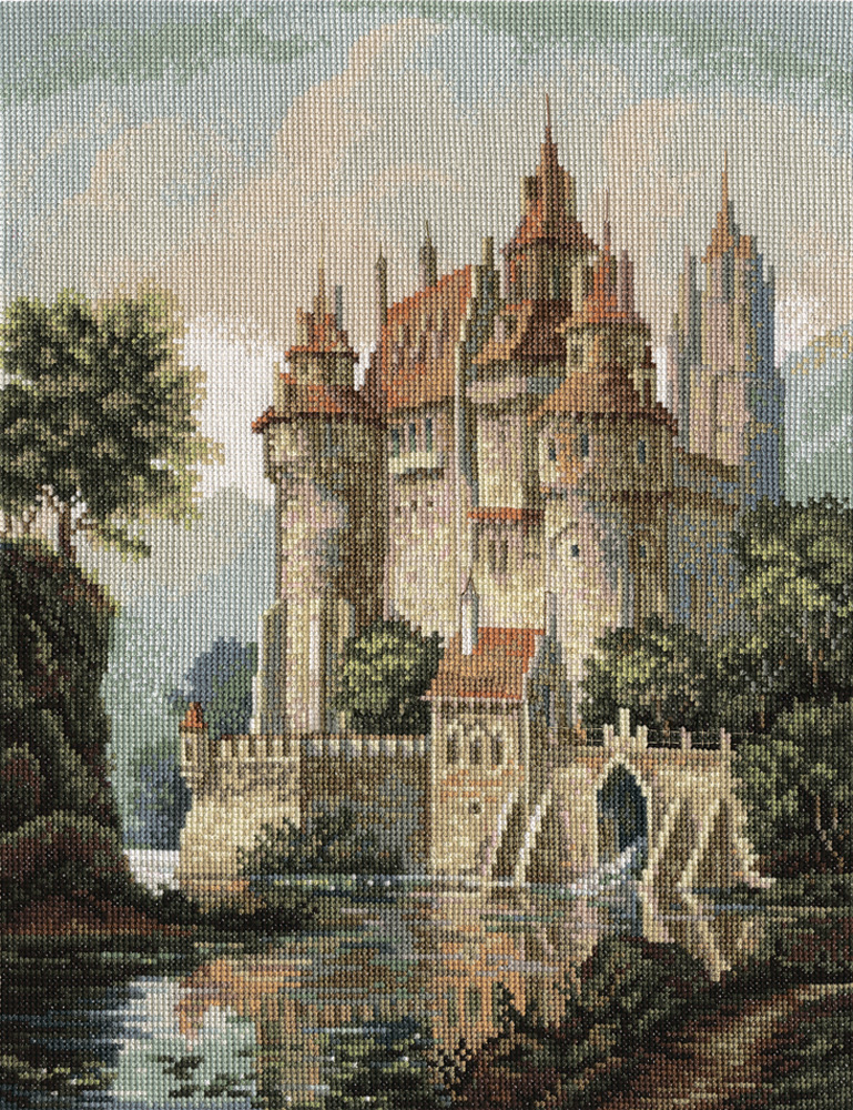 Вышивка крестом замок в парке
