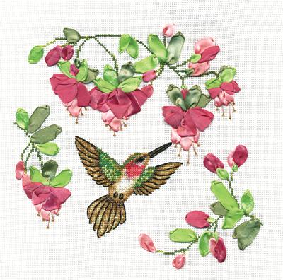 Вышивка крестом колибри и цветы