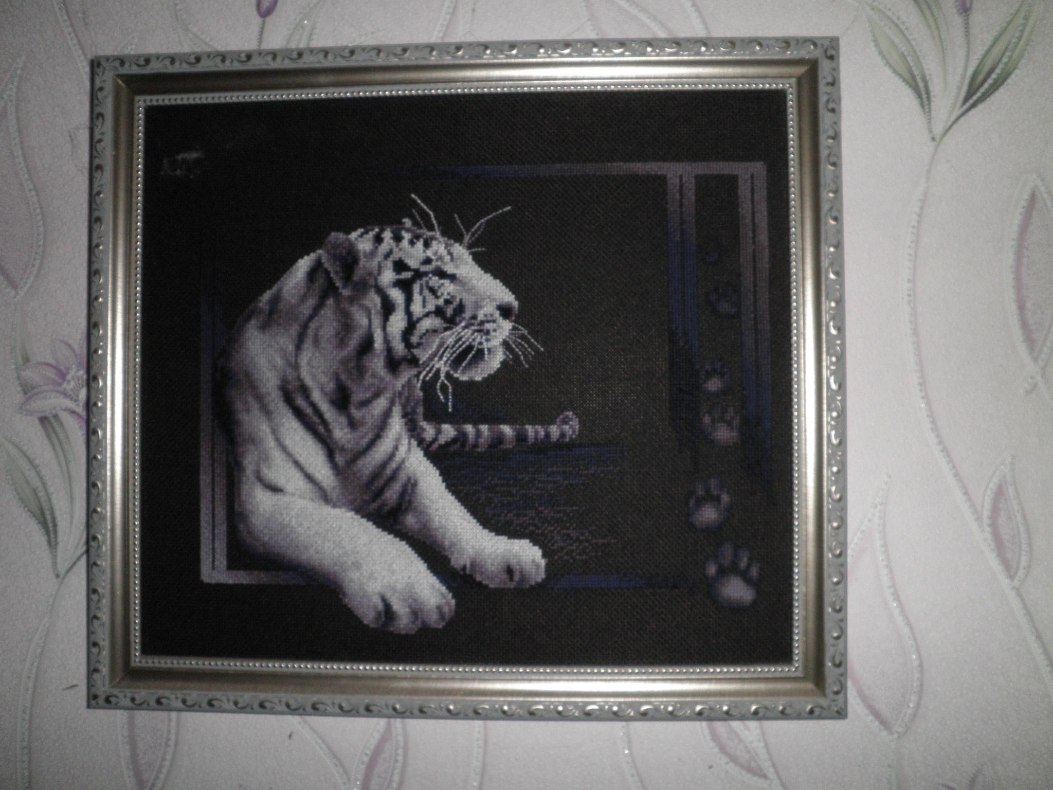 Вышивка на черной канве тигр
